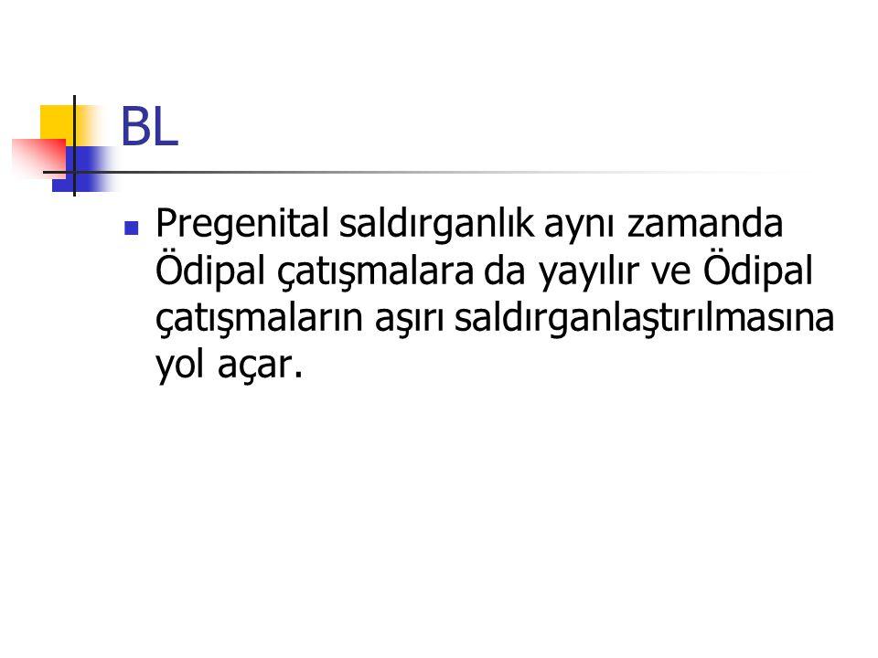 BL Pregenital saldırganlık aynı zamanda Ödipal çatışmalara da yayılır ve Ödipal çatışmaların aşırı saldırganlaştırılmasına yol açar.