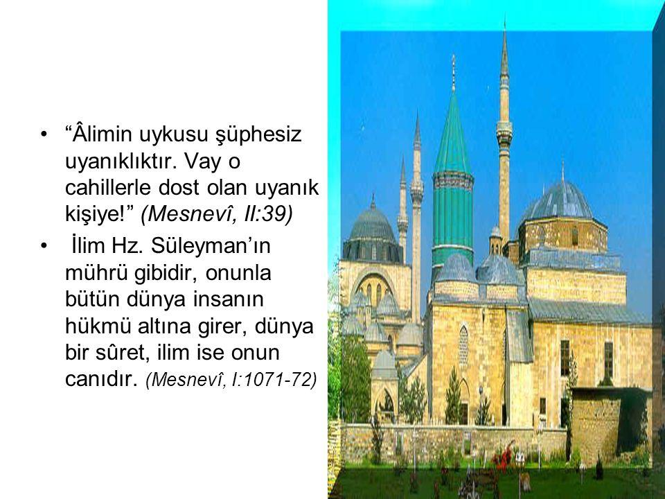 MEVLANA'DA İLİM Ancak aşkla sevgiliye, Hakk'a bağlanan gönül muteberdir. (Mesnevi,I / 1853). Cebrail gibi, akıl ile insan Allah'a ulaşamaz; yarı yolda