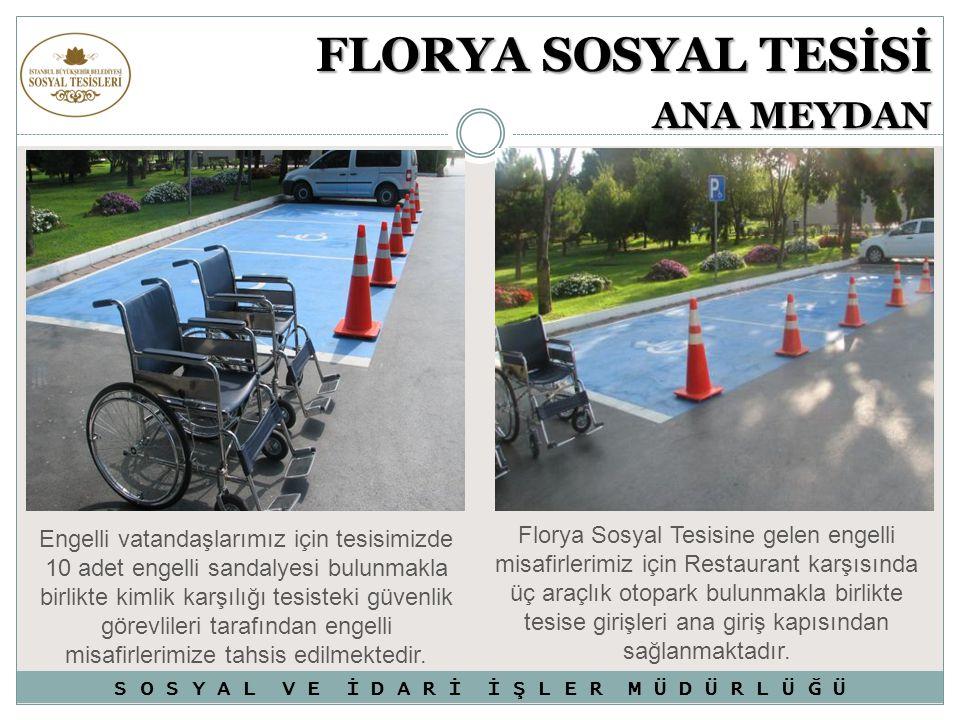 Engelli vatandaşlarımız için tesisimizde 10 adet engelli sandalyesi bulunmakla birlikte kimlik karşılığı tesisteki güvenlik görevlileri tarafından eng