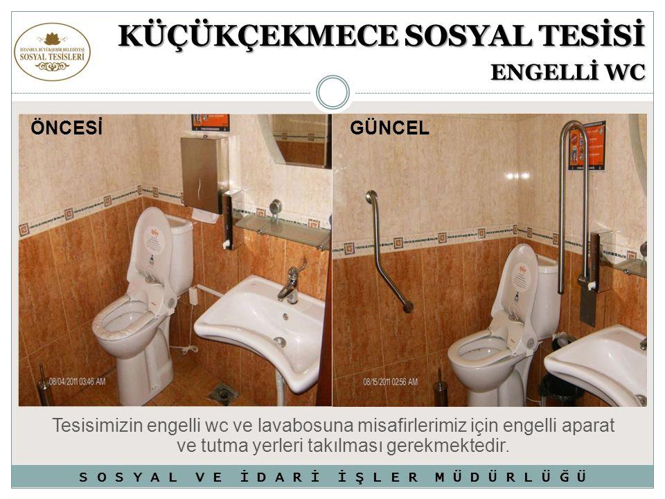 Tesisimizin engelli wc ve lavabosuna misafirlerimiz için engelli aparat ve tutma yerleri takılması gerekmektedir. KÜÇÜKÇEKMECE SOSYAL TESİSİ ENGELLİ W