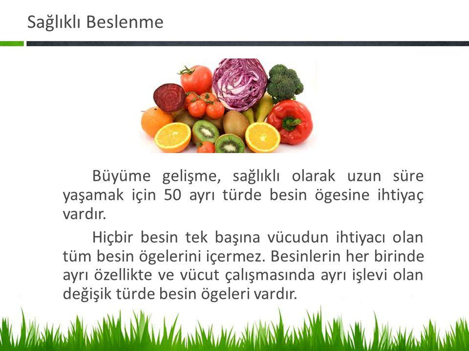Sağlıklı Beslenme Büyüme gelişme, sağlıklı olarak uzun süre yaşamak için 50 ayrı türde besin ögesine ihtiyaç vardır.