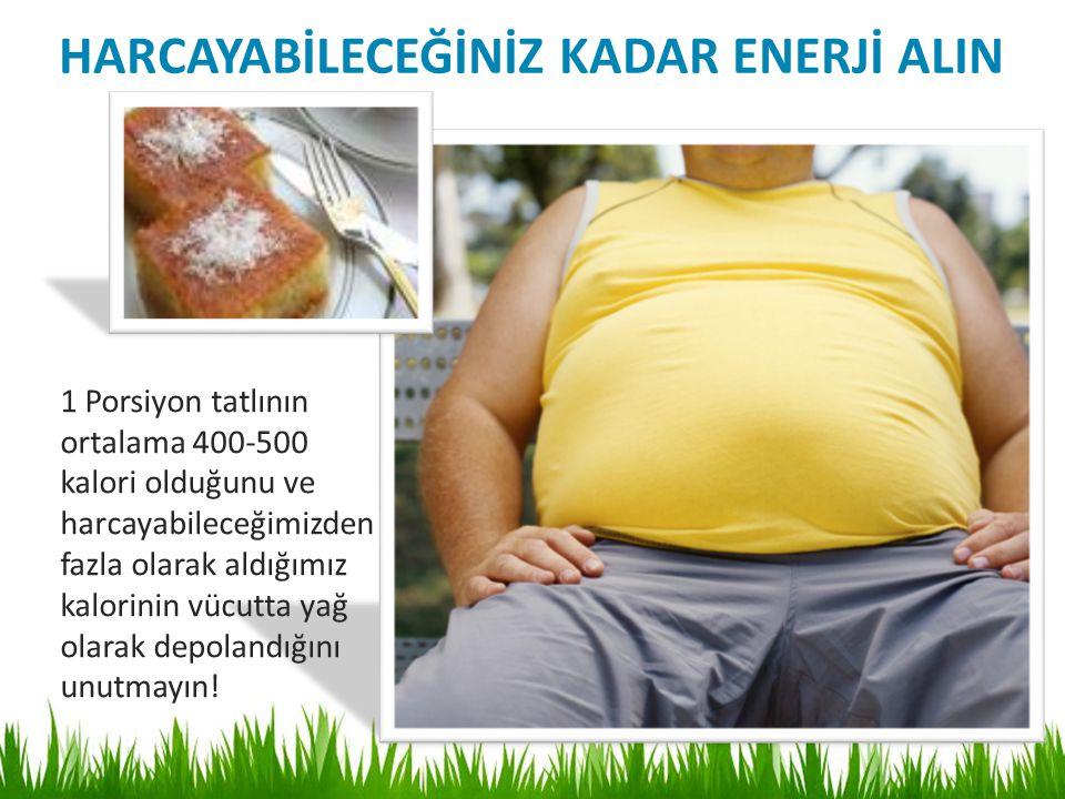 1 Porsiyon tatlının ortalama 400-500 kalori olduğunu ve harcayabileceğimizden fazla olarak aldığımız kalorinin vücutta yağ olarak depolandığını unutmayın.