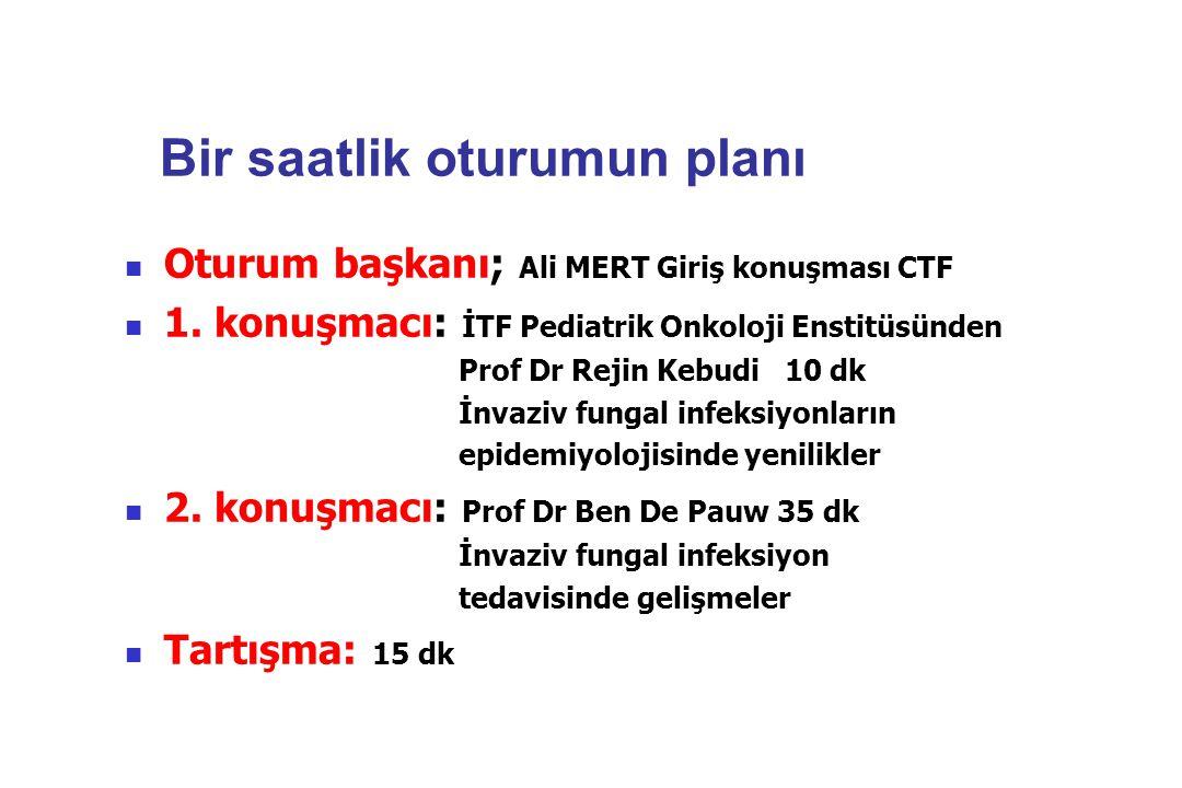 Bir saatlik oturumun planı Oturum başkanı; Ali MERT Giriş konuşması CTF 1. konuşmacı: İTF Pediatrik Onkoloji Enstitüsünden Prof Dr Rejin Kebudi 10 dk
