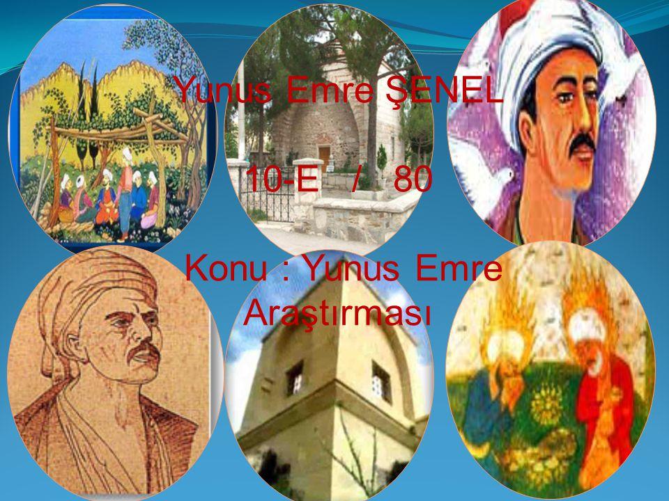 Yunus Emre ŞENEL 10-E / 80 Konu : Yunus Emre Araştırması