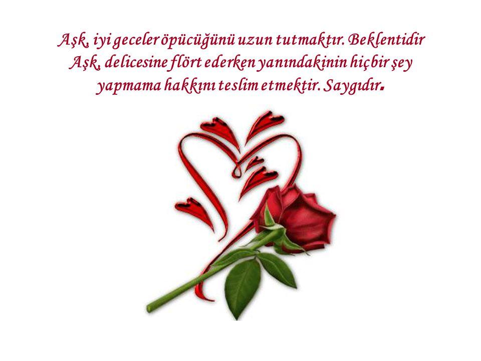 Aşk, iyi geceler öpücüğünü uzun tutmaktır. Beklentidir Aşk, delicesine flört ederken yanındakinin hiçbir şey yapmama hakkını teslim etmektir. Saygıdır