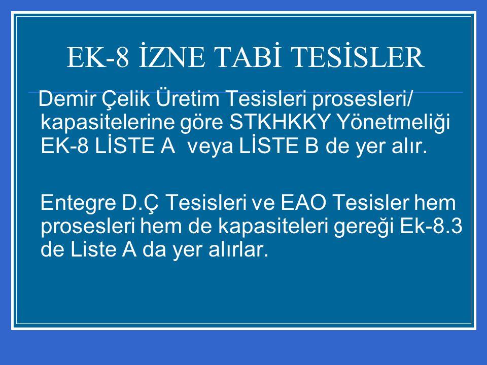 EK-8 İZNE TABİ TESİSLER Demir Çelik Üretim Tesisleri prosesleri/ kapasitelerine göre STKHKKY Yönetmeliği EK-8 LİSTE A veya LİSTE B de yer alır. Entegr