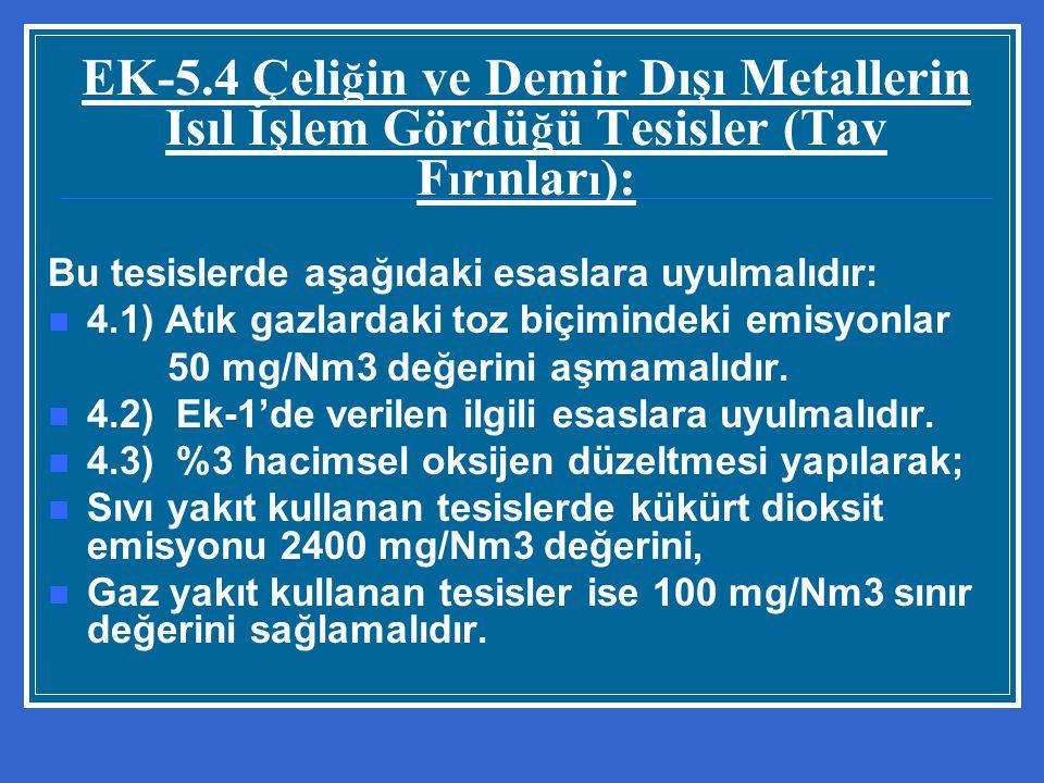 EK-5.4 Çeli ğ in ve Demir Dışı Metallerin Isıl İşlem Gördü ğ ü Tesisler (Tav F ı r ı nlar ı ): Bu tesislerde aşağıdaki esaslara uyulmalıdır: 4.1) Atık