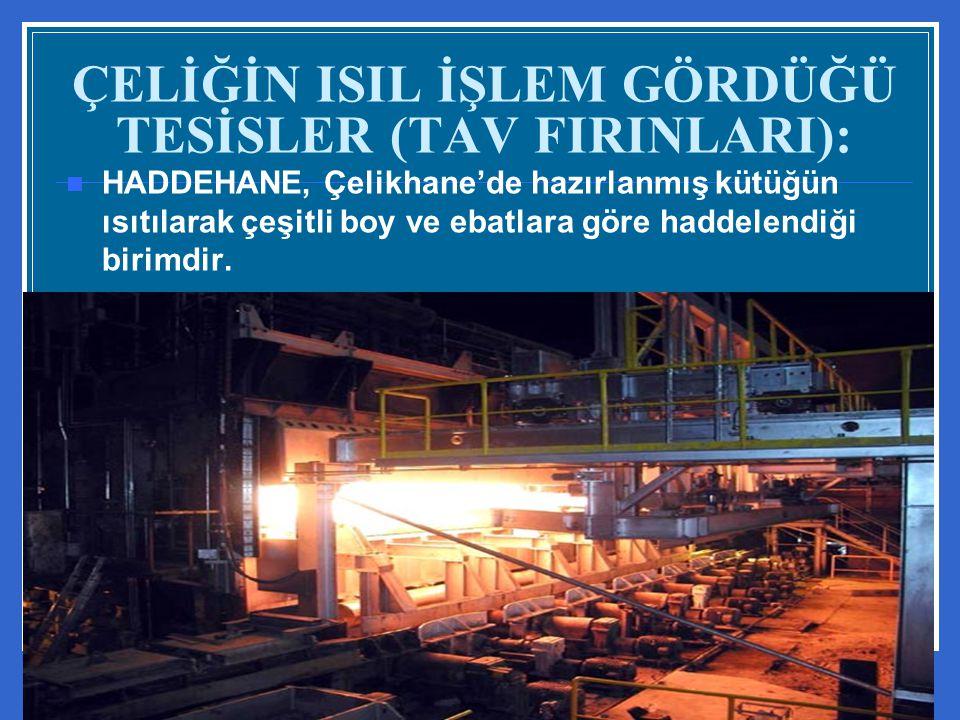 ÇELİĞİN ISIL İŞLEM GÖRDÜĞÜ TESİSLER (TAV FIRINLARI): HADDEHANE, Çelikhane'de hazırlanmış kütüğün ısıtılarak çeşitli boy ve ebatlara göre haddelendiği