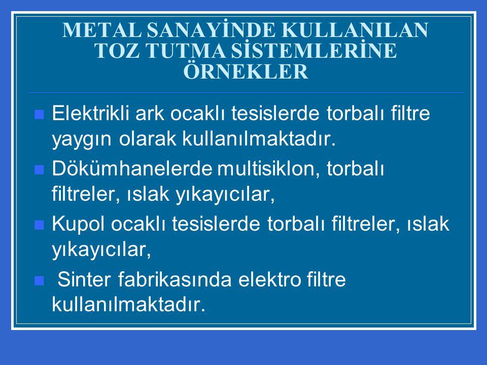 METAL SANAYİNDE KULLANILAN TOZ TUTMA SİSTEMLERİNE ÖRNEKLER Elektrikli ark ocaklı tesislerde torbalı filtre yaygın olarak kullanılmaktadır. Dökümhanele