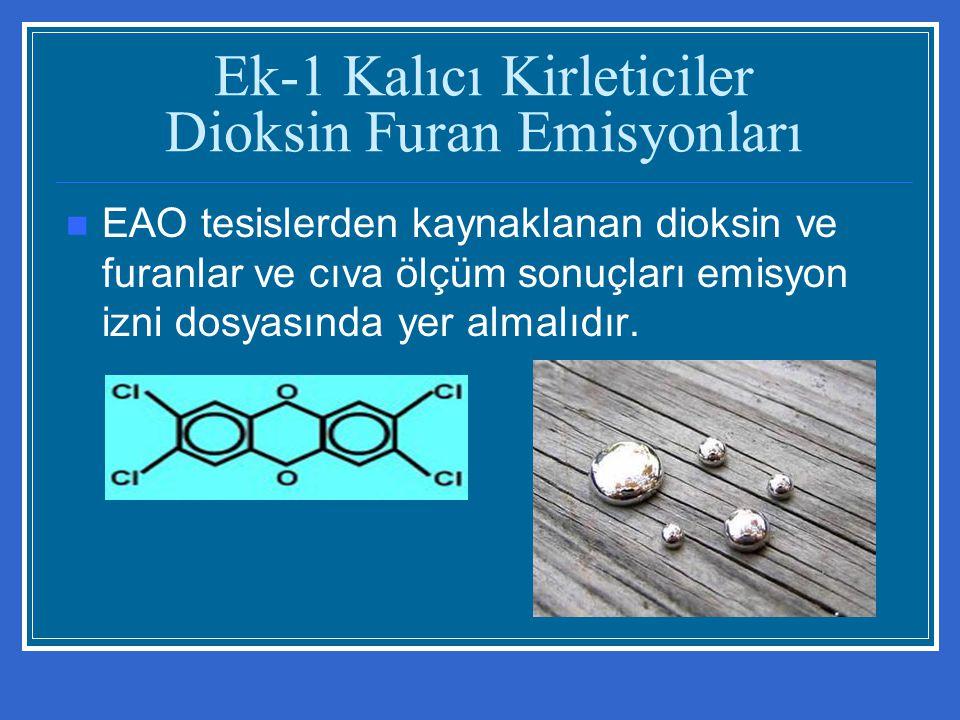 Ek-1 Kalıcı Kirleticiler Dioksin Furan Emisyonları EAO tesislerden kaynaklanan dioksin ve furanlar ve cıva ölçüm sonuçları emisyon izni dosyasında yer