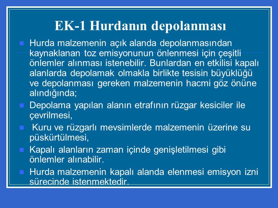 EK-1 Hurdan ı n depolanması Hurda malzemenin açık alanda depolanmasından kaynaklanan toz emisyonunun önlenmesi için çeşitli önlemler alınması istenebi