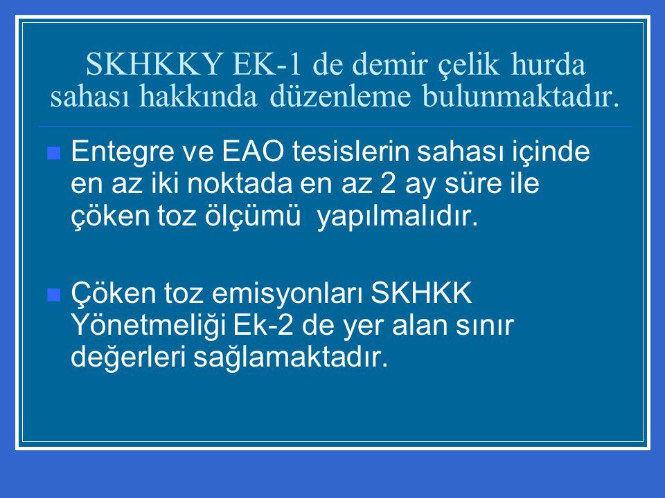 SKHKKY EK-1 de demir çelik hurda sahası hakkında düzenleme bulunmaktadır. Entegre ve EAO tesislerin sahası içinde en az iki noktada en az 2 ay süre il