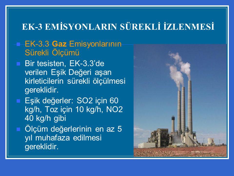 EK-3 EMİSYONLARIN SÜREKLİ İZLENMESİ EK-3.3 Gaz Emisyonlarının Sürekli Ölçümü Bir tesisten, EK-3.3'de verilen Eşik Değeri aşan kirleticilerin sürekli ö