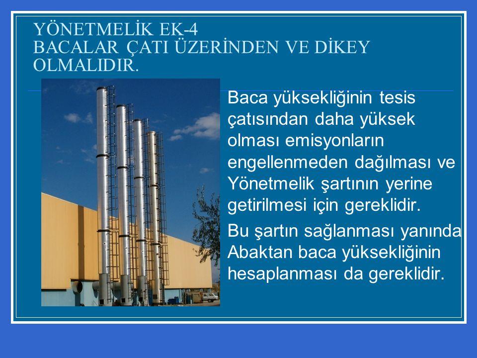 YÖNETMELİK EK-4 BACALAR ÇATI ÜZERİNDEN VE DİKEY OLMALIDIR. Baca yüksekliğinin tesis çatısından daha yüksek olması emisyonların engellenmeden dağılması
