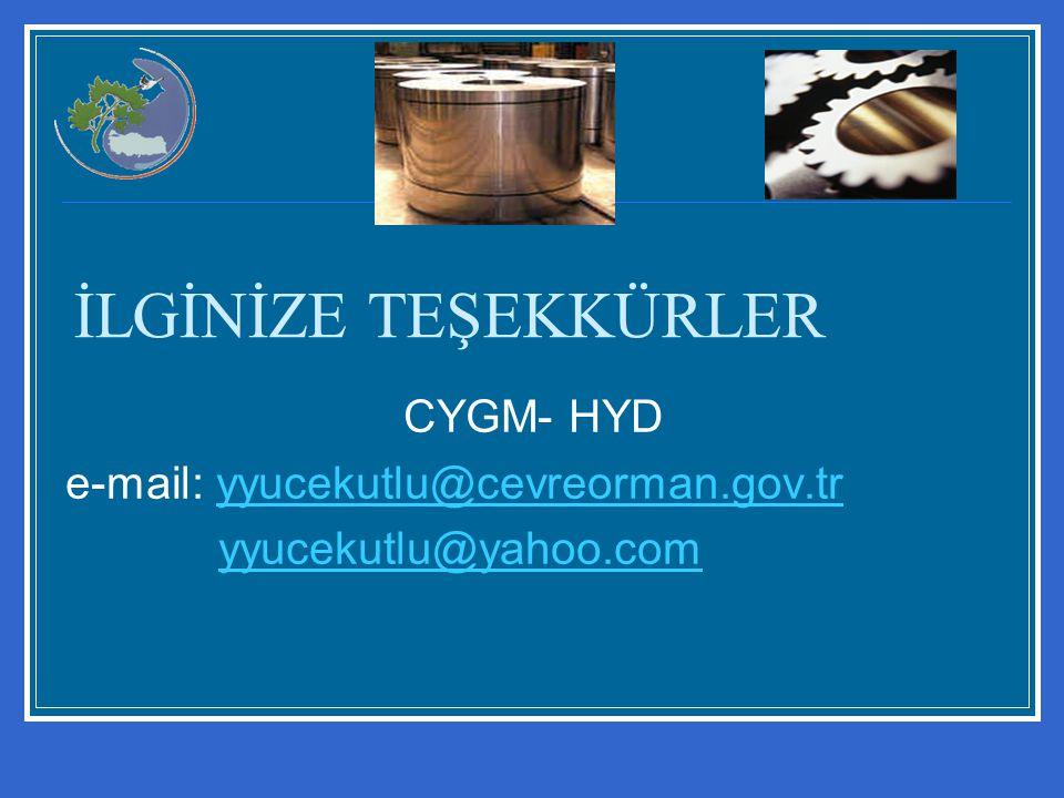 İLGİNİZE TEŞEKKÜRLER CYGM- HYD e-mail: yyucekutlu@cevreorman.gov.tryyucekutlu@cevreorman.gov.tr yyucekutlu@yahoo.com