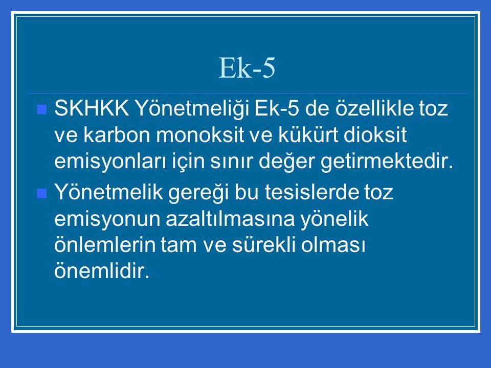 SKHKK Yönetmeliği Ek-5 de özellikle toz ve karbon monoksit ve kükürt dioksit emisyonları için sınır değer getirmektedir. Yönetmelik gereği bu tesisler
