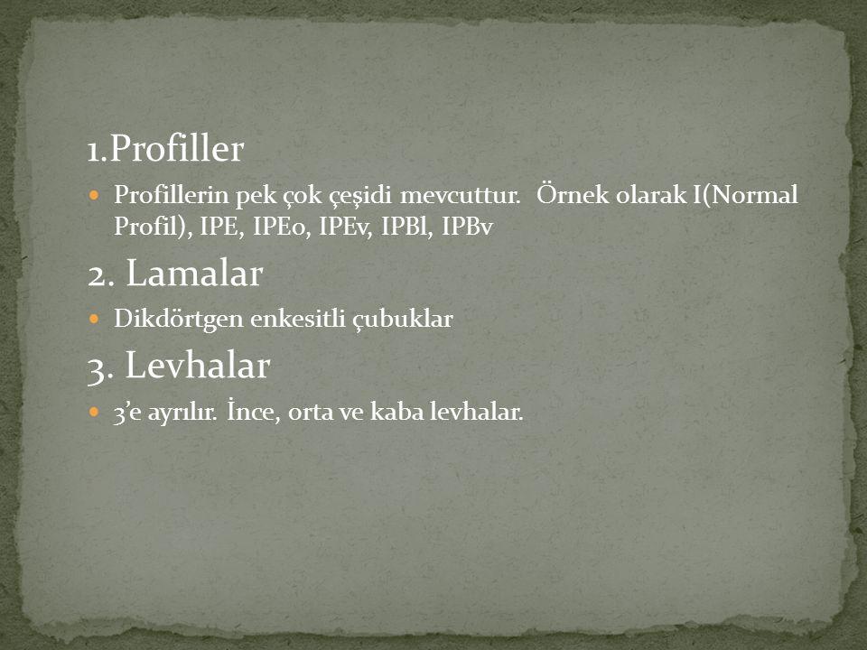 1.Profiller Profillerin pek çok çeşidi mevcuttur. Örnek olarak I(Normal Profil), IPE, IPEo, IPEv, IPBl, IPBv 2. Lamalar Dikdörtgen enkesitli çubuklar
