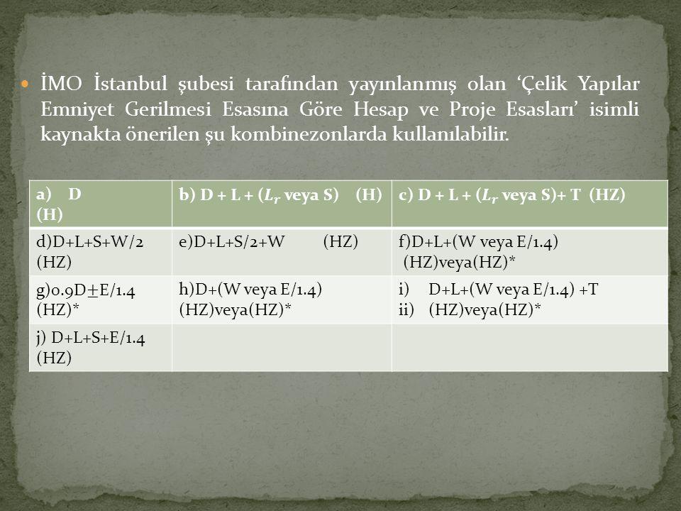 İMO İstanbul şubesi tarafından yayınlanmış olan 'Çelik Yapılar Emniyet Gerilmesi Esasına Göre Hesap ve Proje Esasları' isimli kaynakta önerilen şu kom