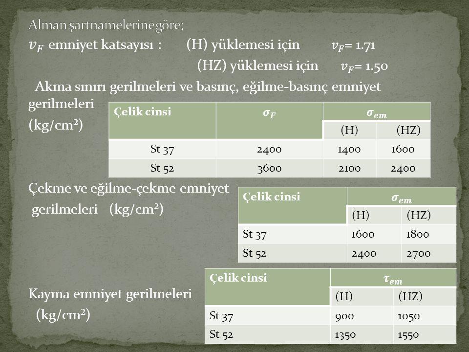 Çelik cinsi (H) (HZ) St 37240014001600 St 52360021002400 Çelik cinsi (H)(HZ) St 3716001800 St 5224002700 Çelik cinsi (H)(HZ) St 379001050 St 521350155