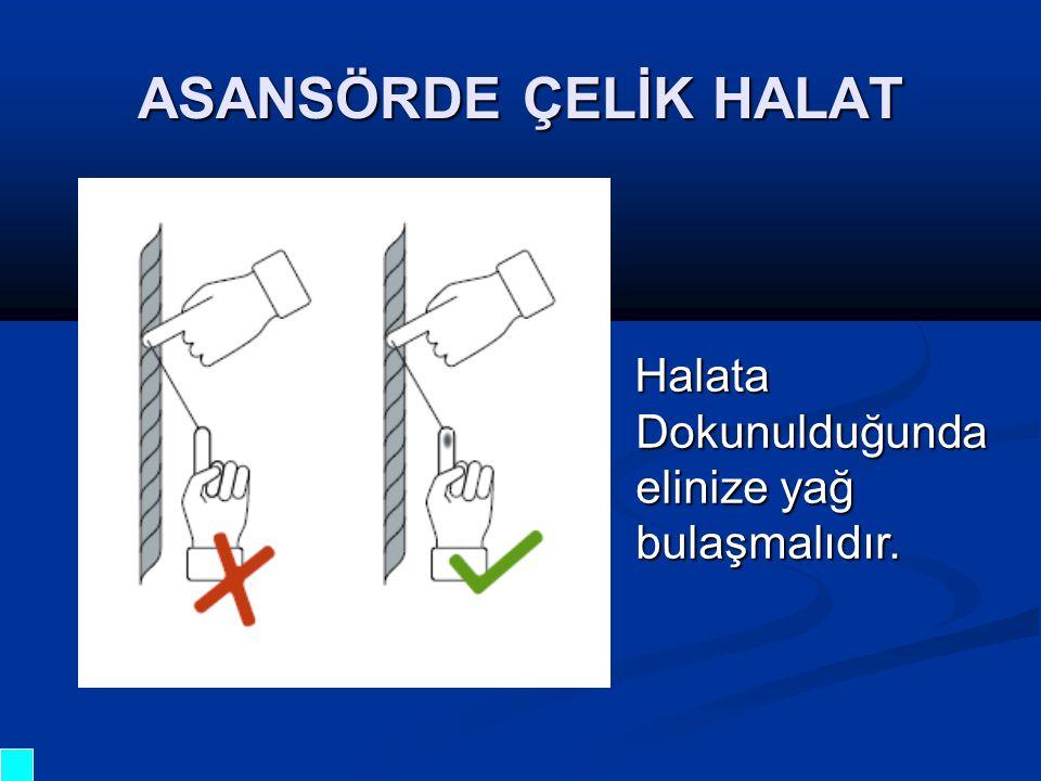Halata Dokunulduğunda elinize yağ bulaşmalıdır. Halata Dokunulduğunda elinize yağ bulaşmalıdır. ASANSÖRDE ÇELİK HALAT
