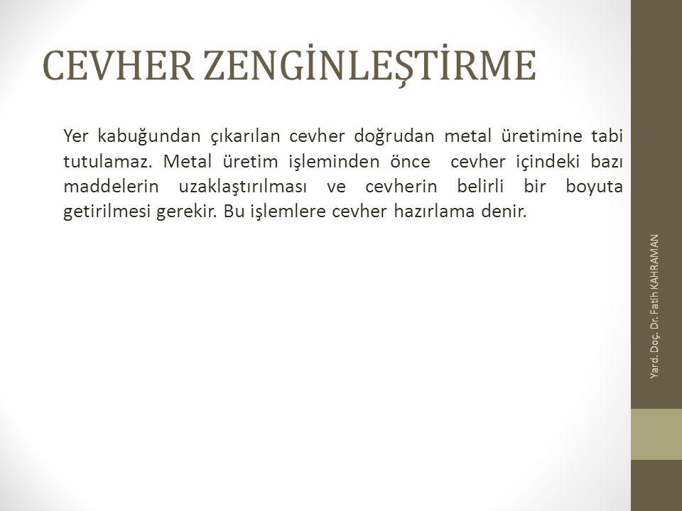 CEVHER ZENGİNLEŞTİRME Yer kabuğundan çıkarılan cevher doğrudan metal üretimine tabi tutulamaz. Metal üretim işleminden önce cevher içindeki bazı madde