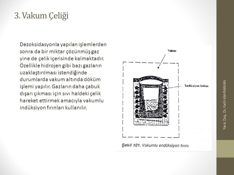 3. Vakum Çeliği Yard. Doç. Dr. Fatih KAHRAMAN Dezoksidasyonla yapılan işlemlerden sonra da bir miktar çözünmüş gaz yine de çelik içerisinde kalmaktadı