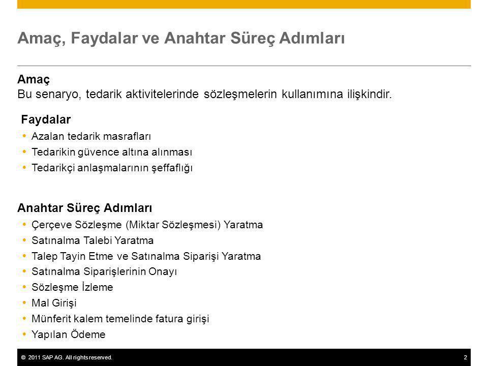 ©2011 SAP AG. All rights reserved.2 Amaç, Faydalar ve Anahtar Süreç Adımları Amaç Bu senaryo, tedarik aktivitelerinde sözleşmelerin kullanımına ilişki