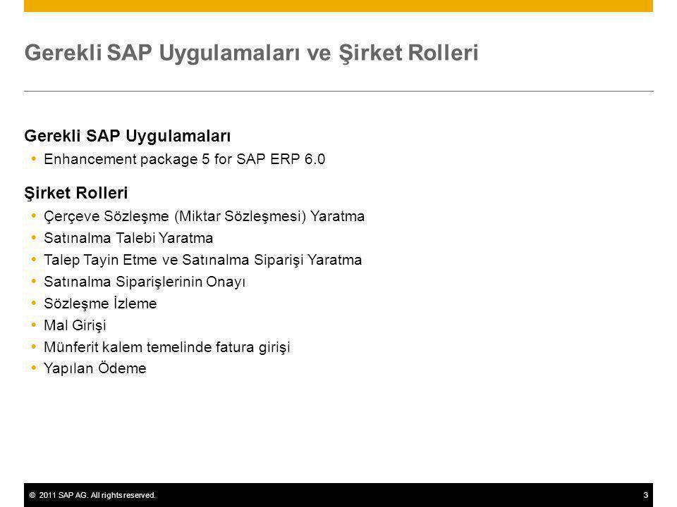 ©2011 SAP AG. All rights reserved.3 Gerekli SAP Uygulamaları ve Şirket Rolleri Gerekli SAP Uygulamaları  Enhancement package 5 for SAP ERP 6.0 Şirket