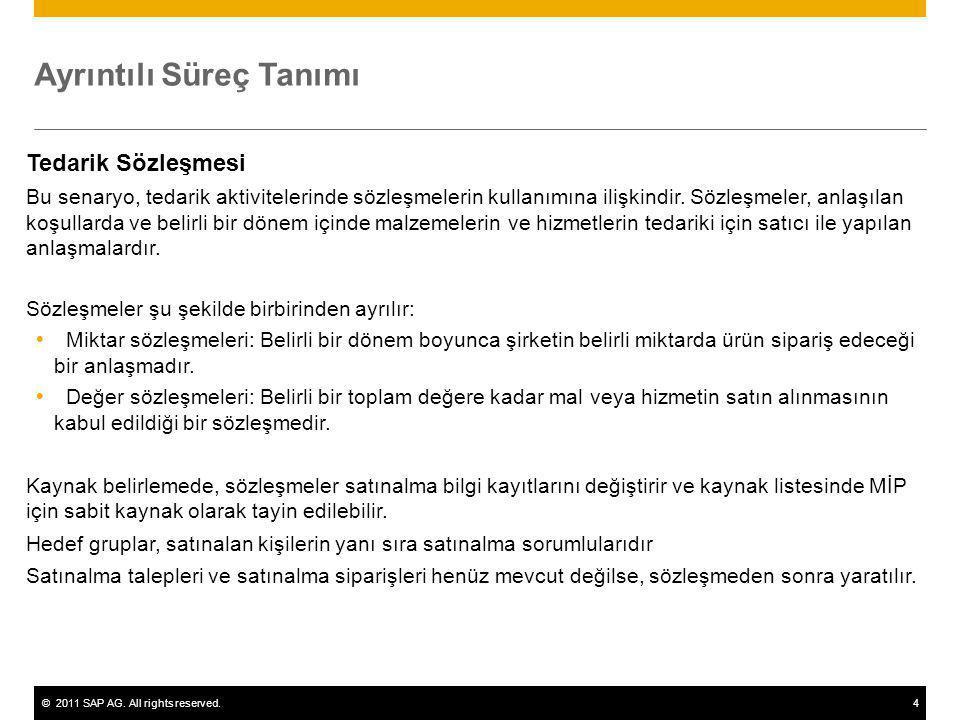 ©2011 SAP AG. All rights reserved.4 Ayrıntılı Süreç Tanımı Tedarik Sözleşmesi Bu senaryo, tedarik aktivitelerinde sözleşmelerin kullanımına ilişkindir