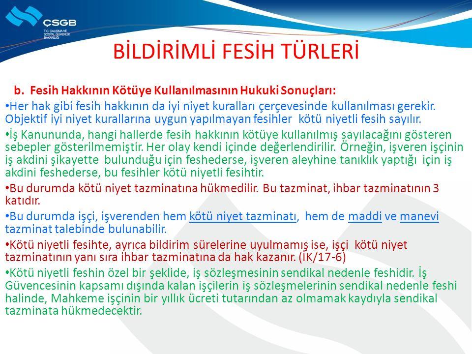 BİLDİRİMLİ FESİH TÜRLERİ b.