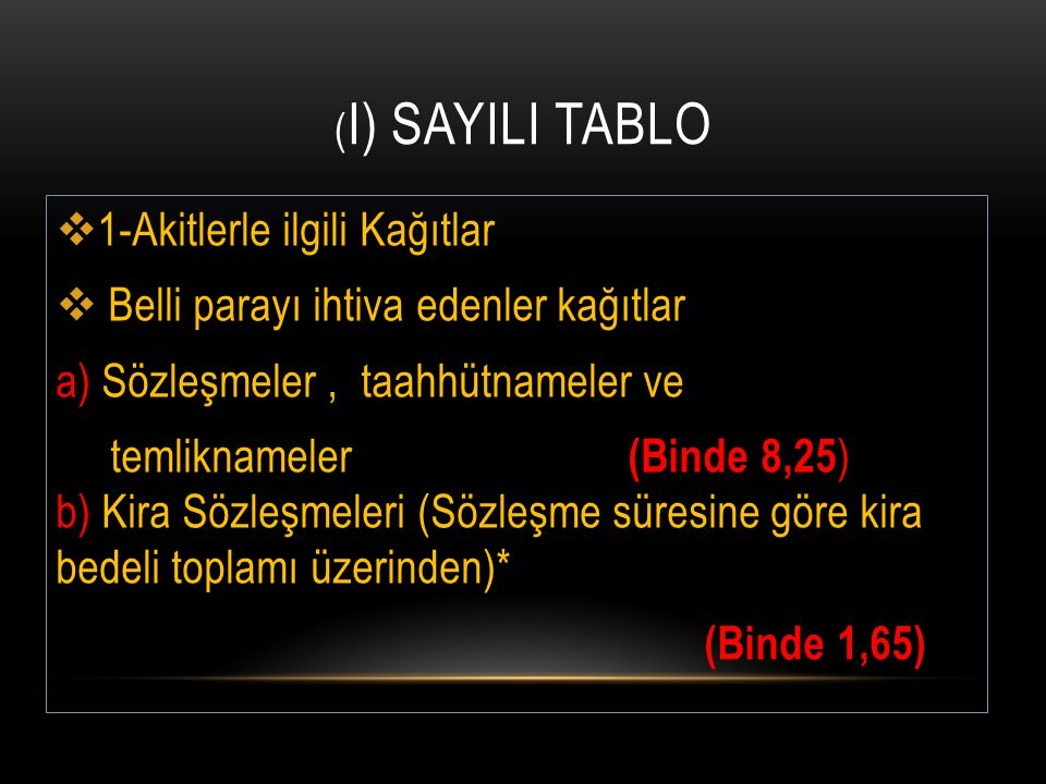 ( I) SAYILI TABLO  1-Akitlerle ilgili Kağıtlar  Belli parayı ihtiva edenler kağıtlar a) Sözleşmeler, taahhütnameler ve temliknameler (Binde 8,25 ) b