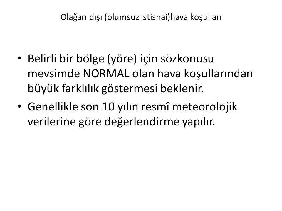 Olağan dışı (olumsuz istisnai)hava koşulları Belirli bir bölge (yöre) için sözkonusu mevsimde NORMAL olan hava koşullarından büyük farklılık göstermes