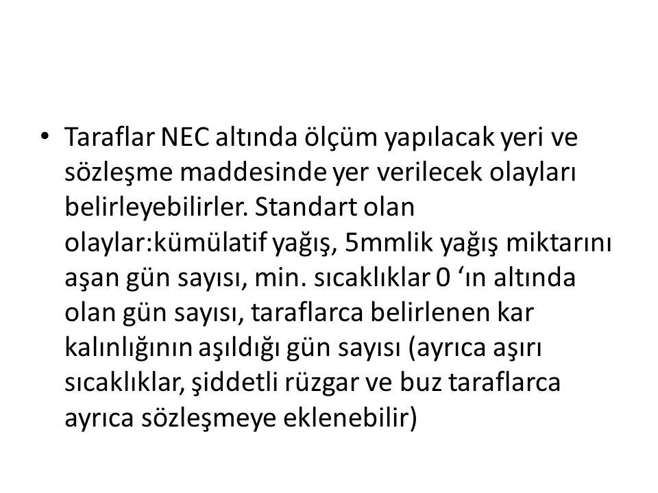 Taraflar NEC altında ölçüm yapılacak yeri ve sözleşme maddesinde yer verilecek olayları belirleyebilirler. Standart olan olaylar:kümülatif yağış, 5mml