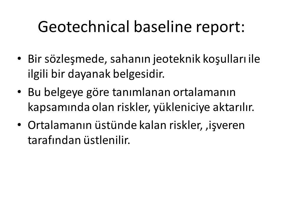 Geotechnical baseline report: Bir sözleşmede, sahanın jeoteknik koşulları ile ilgili bir dayanak belgesidir. Bu belgeye göre tanımlanan ortalamanın ka