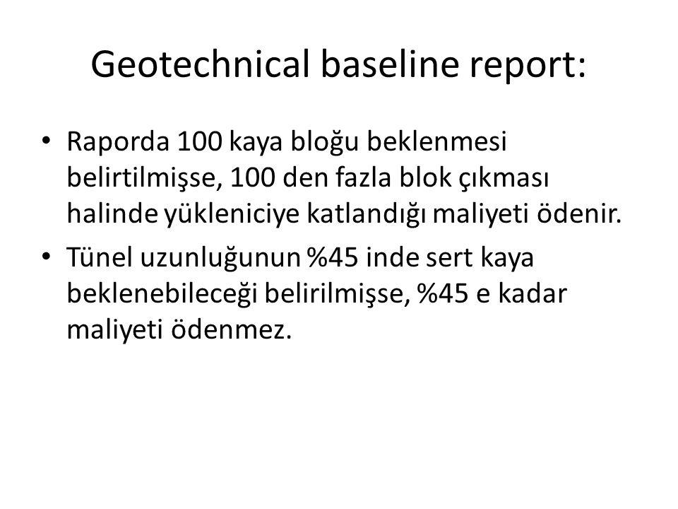 Geotechnical baseline report: Raporda 100 kaya bloğu beklenmesi belirtilmişse, 100 den fazla blok çıkması halinde yükleniciye katlandığı maliyeti öden