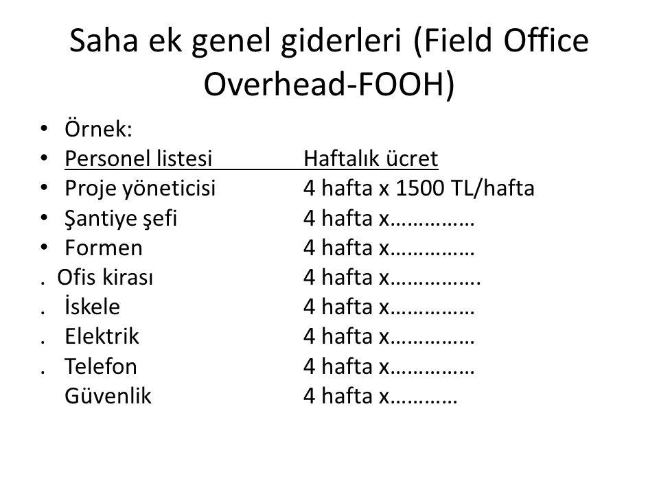 Saha ek genel giderleri (Field Office Overhead-FOOH) Örnek: Personel listesiHaftalık ücret Proje yöneticisi4 hafta x 1500 TL/hafta Şantiye şefi4 hafta