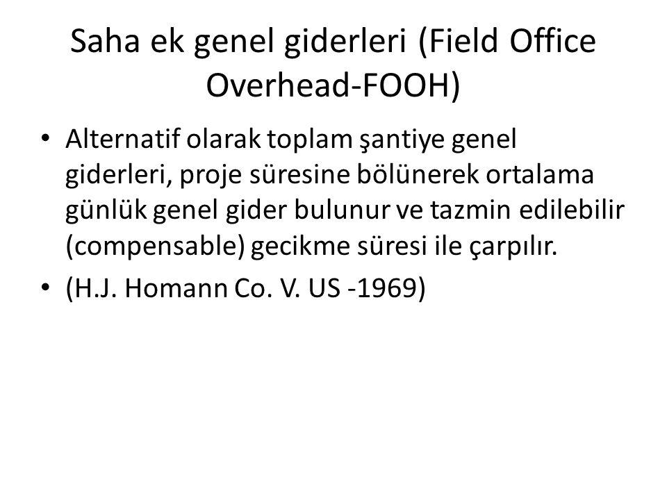 Saha ek genel giderleri (Field Office Overhead-FOOH) Alternatif olarak toplam şantiye genel giderleri, proje süresine bölünerek ortalama günlük genel