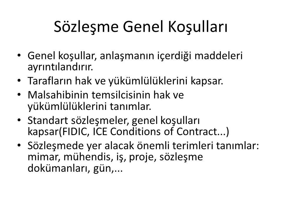 Sözleşme Genel Koşulları Genel koşullar, anlaşmanın içerdiği maddeleri ayrıntılandırır. Tarafların hak ve yükümlülüklerini kapsar. Malsahibinin temsil