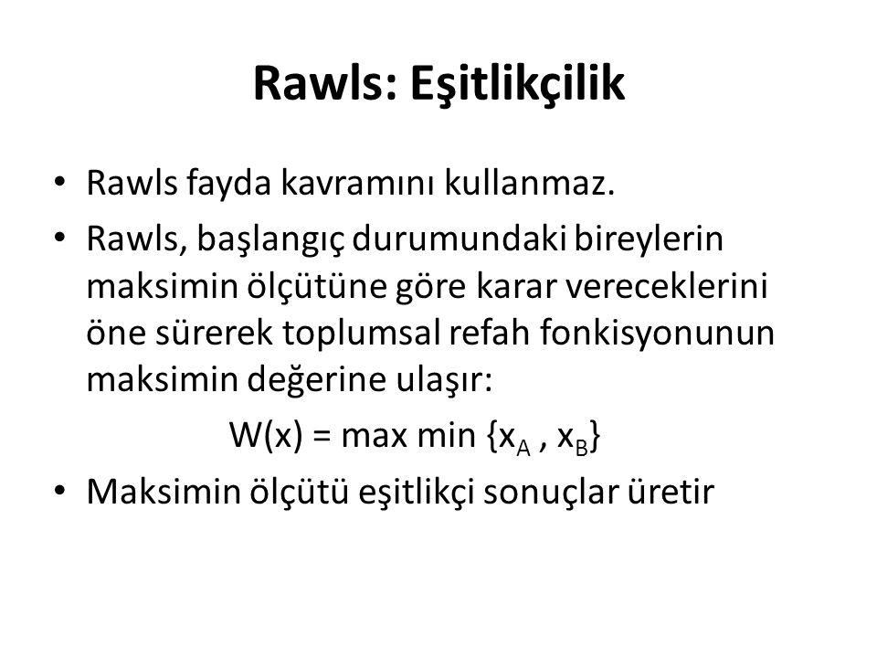 Rawls: Eşitlikçilik Rawls fayda kavramını kullanmaz. Rawls, başlangıç durumundaki bireylerin maksimin ölçütüne göre karar vereceklerini öne sürerek to
