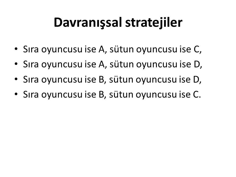 Davranışsal stratejiler Sıra oyuncusu ise A, sütun oyuncusu ise C, Sıra oyuncusu ise A, sütun oyuncusu ise D, Sıra oyuncusu ise B, sütun oyuncusu ise