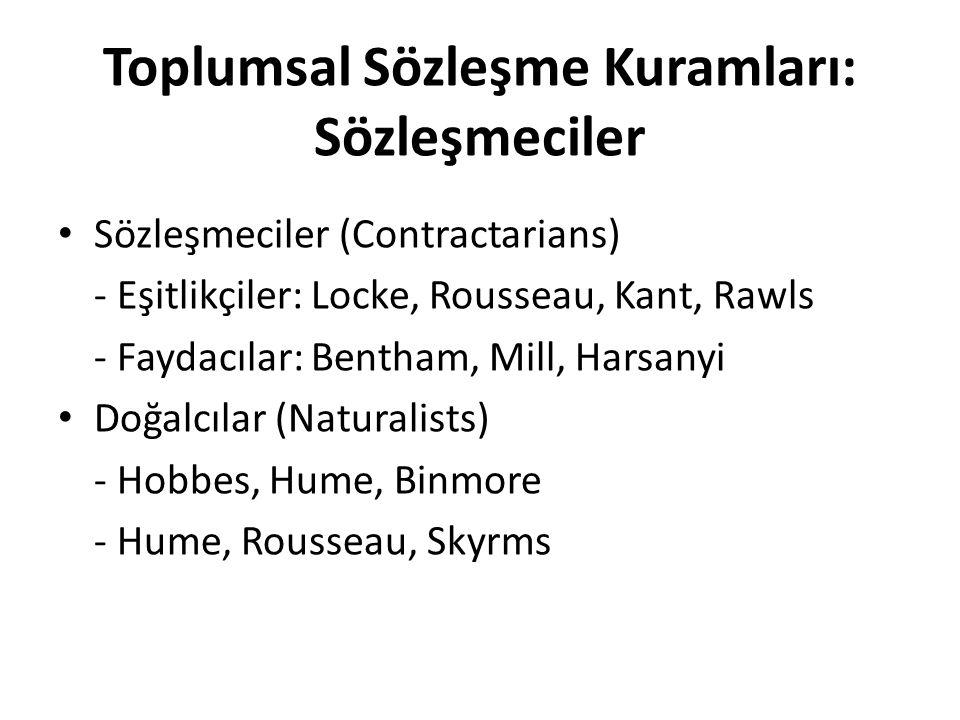Toplumsal Sözleşme Kuramları: Sözleşmeciler Sözleşmeciler (Contractarians) - Eşitlikçiler: Locke, Rousseau, Kant, Rawls - Faydacılar: Bentham, Mill, H