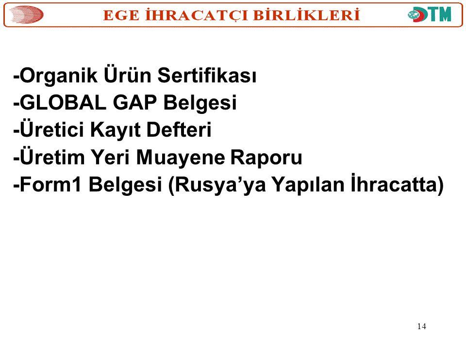 -Organik Ürün Sertifikası -GLOBAL GAP Belgesi -Üretici Kayıt Defteri -Üretim Yeri Muayene Raporu -Form1 Belgesi (Rusya'ya Yapılan İhracatta) 14