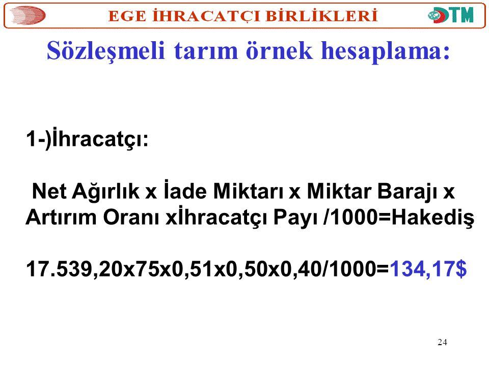 Sözleşmeli tarım örnek hesaplama: 1-)İhracatçı: Net Ağırlık x İade Miktarı x Miktar Barajı x Artırım Oranı xİhracatçı Payı /1000=Hakediş 17.539,20x75x