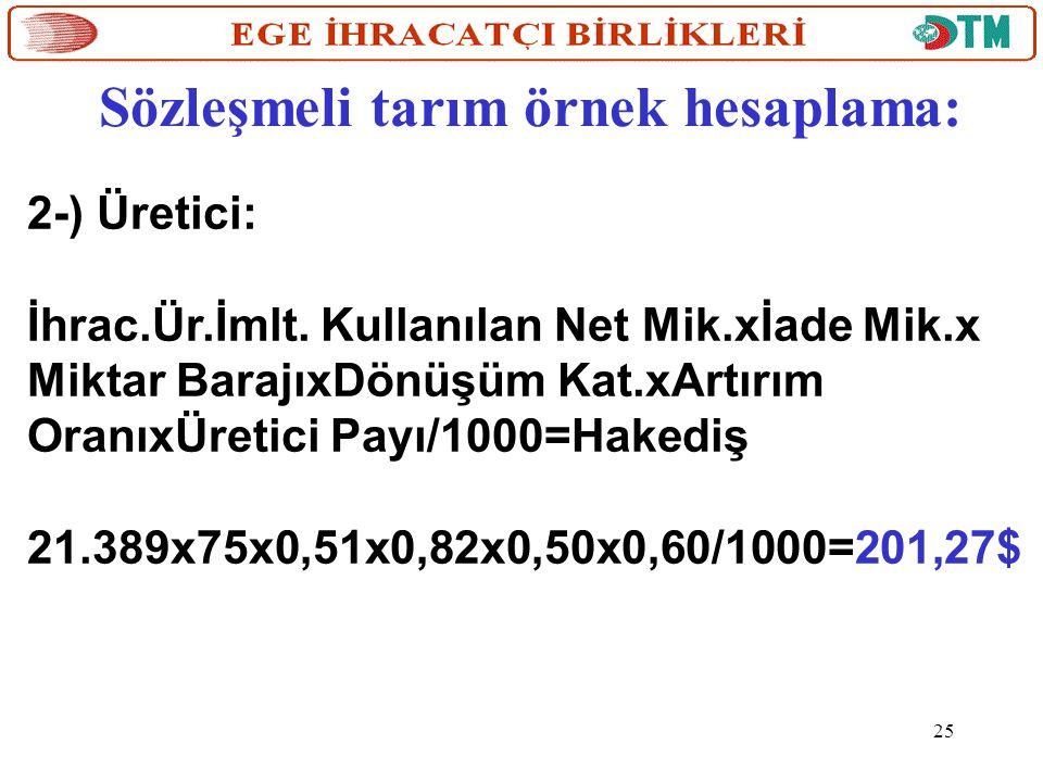Sözleşmeli tarım örnek hesaplama: 2-) Üretici: İhrac.Ür.İmlt. Kullanılan Net Mik.xİade Mik.x Miktar BarajıxDönüşüm Kat.xArtırım OranıxÜretici Payı/100