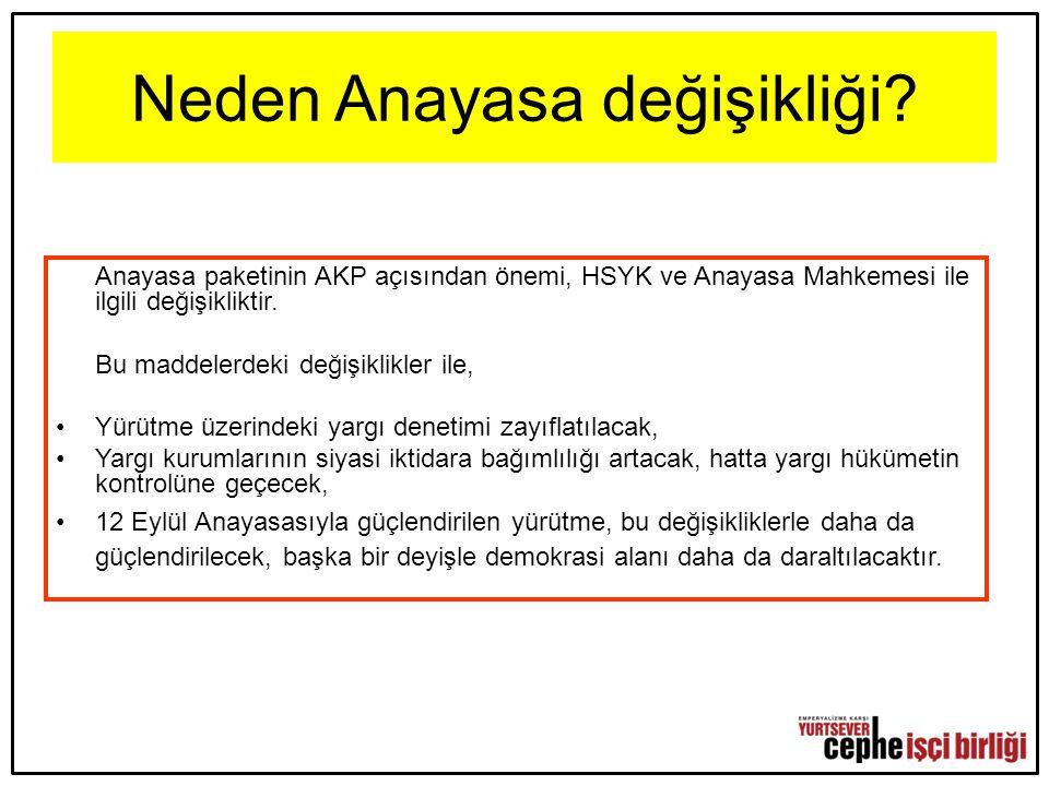 Neden Anayasa değişikliği? Anayasa paketinin AKP açısından önemi, HSYK ve Anayasa Mahkemesi ile ilgili değişikliktir. Bu maddelerdeki değişiklikler il