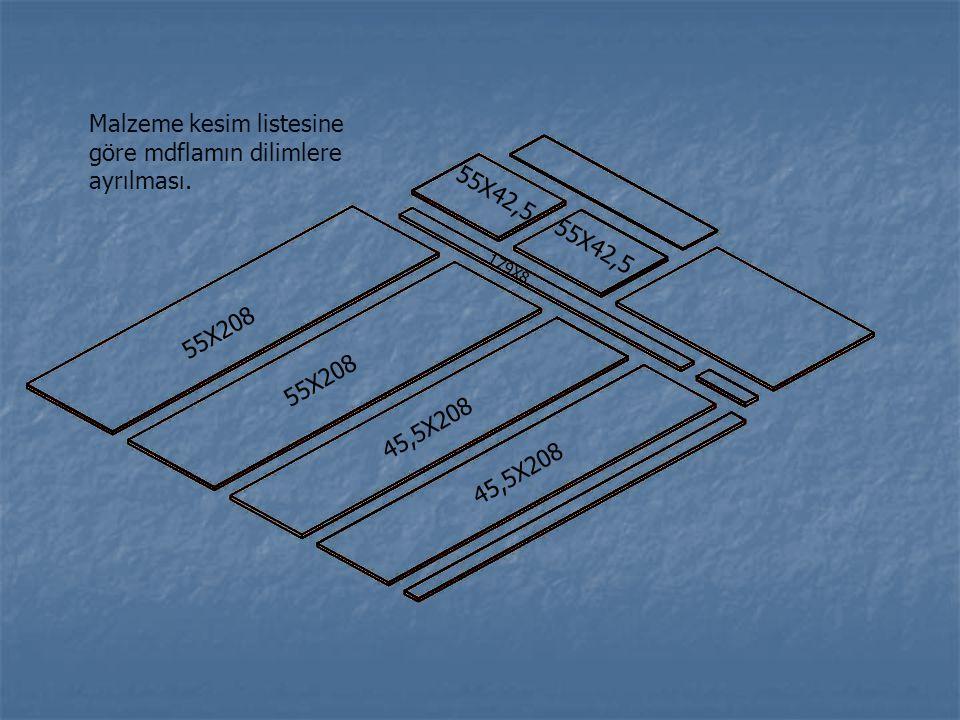 55X208 45,5X208 179X8 55X42,5 Malzeme kesim listesine göre mdflamın dilimlere ayrılması.