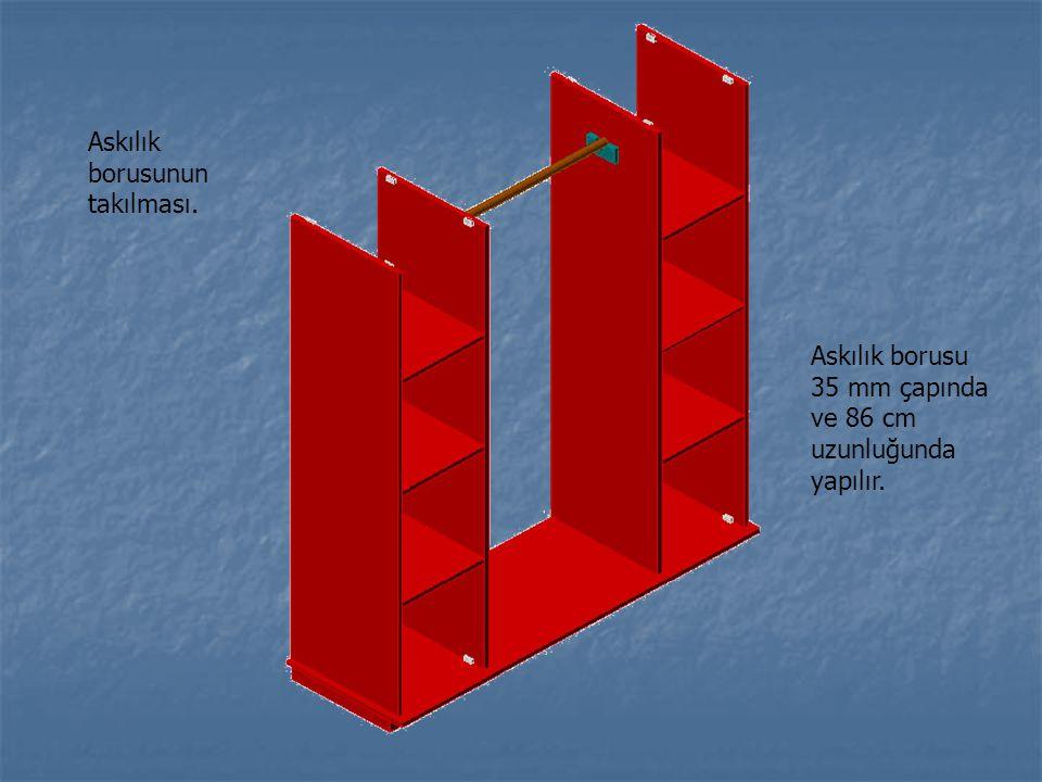 Askılık borusunun takılması. Askılık borusu 35 mm çapında ve 86 cm uzunluğunda yapılır.