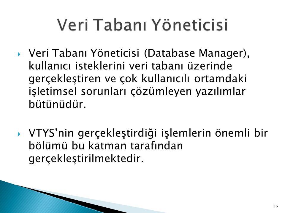  Veri Tabanı Yöneticisi (Database Manager), kullanıcı isteklerini veri tabanı üzerinde gerçekleştiren ve çok kullanıcılı ortamdaki işletimsel sorunla