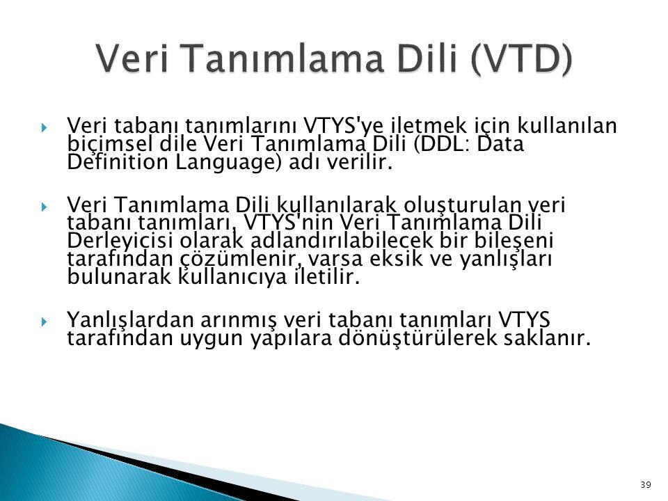  Veri tabanı tanımlarını VTYS'ye iletmek için kullanılan biçimsel dile Veri Tanımlama Dili (DDL: Data Definition Language) adı verilir.  Veri Tanıml
