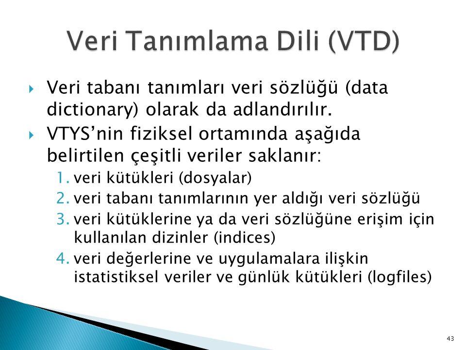  Veri tabanı tanımları veri sözlüğü (data dictionary) olarak da adlandırılır.  VTYS'nin fiziksel ortamında aşağıda belirtilen çeşitli veriler saklan